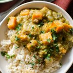 Closeup of sweet potato and lentil curry