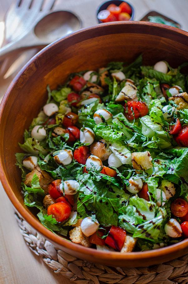 Closeup, side angle of salad.