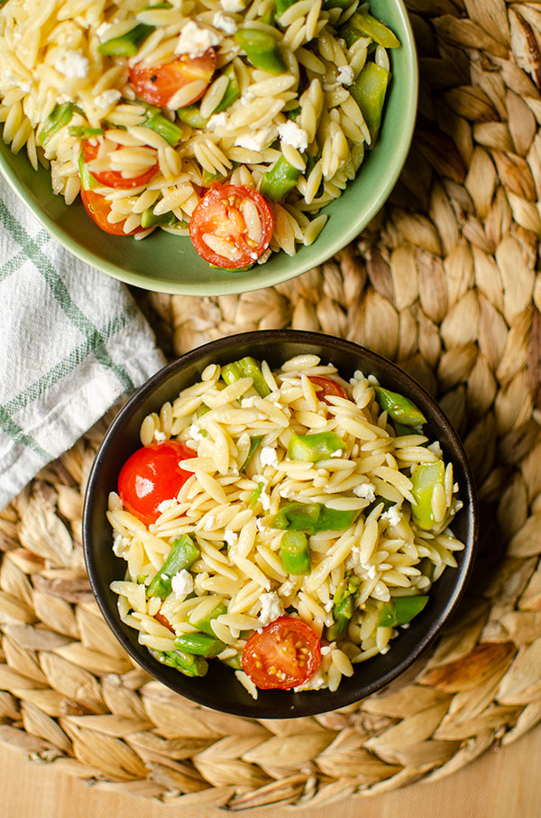 Two bowls of orzo.