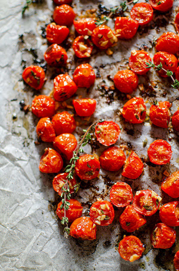 Roasted tomatoes on a baking sheet